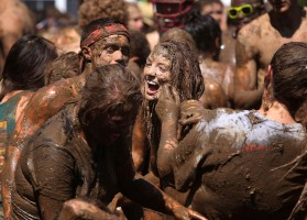 More than 1,600 students celebrated the end of the school year at the 10th annual Festivus, an independently thrown mud party open to all students early in the morning of Saturday, May 3, 2014 at the Sheridan Apartments in Elon, N.C.