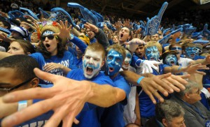 Cameron Crazies get pumped before the start of the Duke vs. NC State basketball game on Thursday, February 7, 2013. The Blue Devils defeated the Wolfpack 98-85.