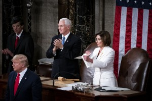 House Speaker Nancy Pelosi, a Democrat from California, right, rips up papers after President Donald Trump, bottom left, delivers a State of the Union address to a joint session of Congress at the Capitol in Washington, D.C., U.S., on Tuesday, Feb. 4, 2020. PresidentDonald Trumpwill try to move past his impeachment and make a case for his re-election in Tuesday'sStateoftheUnionaddress by taking credit for a strong economy, newly signed trade deals and an immigration crackdown.