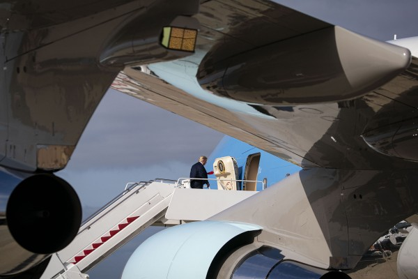 President Donald Trump boards Air Force One at Joint Base Andrews in Maryland as he heads for a West coast trip, on Saturday, Sept. 12, 2020.