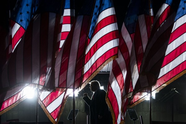 President Donald Trump departs during a rally at Central Wisconsin Aviation, in Mosinee, Wis., on Thursday, Sept. 17, 2020.