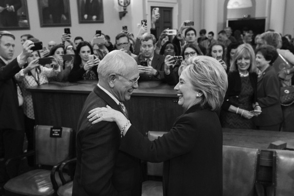 Democratic presidential candidate and former Secretary of State Hillary Rodham Clinton, greets Rep. Paul Tonko, D-N.Y., after testifying before the House Select Committee on Benghazi, on Capitol Hill in Washington, Thursday, Oct. 22, 2015. Clinton was being investigated by a Republican-led committee on the deadly 2012 Benghazi, Libya attacks.