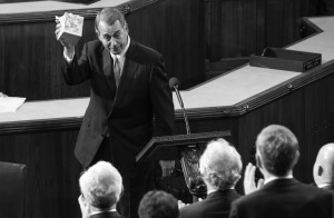 Outgoing House Speaker John Boehner, R-Ohio, holds up a box of tissues while speaking in the House Chamber on Capitol Hill in Washington, Thursday, Oct. 29, 2015.
