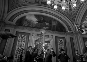 Senate Foreign Relations Committee Chairman Sen. Bob Corker, R-Tenn., speaks to the media following a meeting with Vice President Joe Biden and other committee members to discuss the nuclear agreement with Iran on Capitol Hill in Washington, Thursday, July 16, 2015.