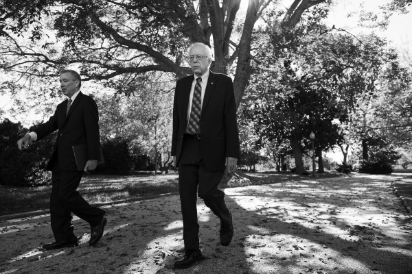 Democratic presidential candidate Sen. Bernie Sanders, I-Vt., walks back to his office in the Dirksen Senate Office Building after a news conference on Capitol Hill in Washington, Wednesday, November 4, 2015. Sanders and Sen. Jeff Merkley, D-Ore., were announcing the Keep Fossil Fuels in the Ground Act of 2015, a bill that prohibits the issuance of new leases or renewal of non-producing leases for coal, oil and natural gas on all federal lands and waters.