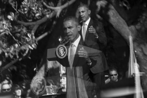 In this photo made using a teleconverter in-between two crop factors, President Barack Obama addresses a crowd of around 15,000 during a state arrival ceremony for Pope Francis on the South Lawn of the White House in Washington, Wednesday, September 23, 2015.