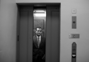 Sen. Ted Cruz, R-Texas, awaits for the elevator doors to close as he arrives in the basement of the Capitol, July 29, 2015.