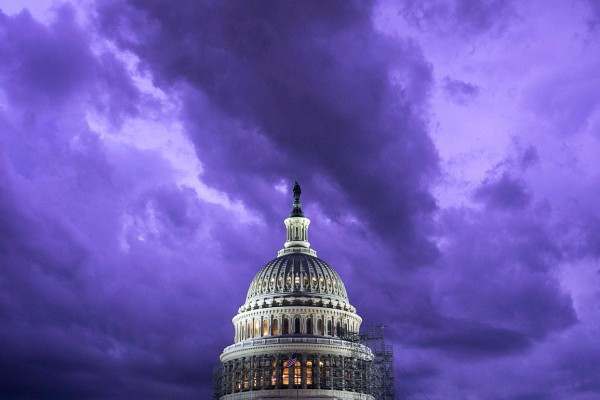 The U.S. Capitol is seen during a summer storm, on Monday, August 15, 2016.