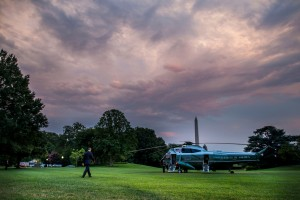 President Barack Obama walks across the South Lawn of the White House towards Marine One, Wednesday, July 27, 2016, as he travels to Philadelphia where he will speak at the Democratic National Convention.