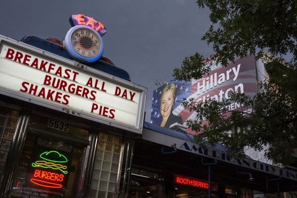 A campaign sign for Democratic presidential candidate Hillary Clinton is seen behind the American City diner in Washington, on Monday, August 15, 2016.