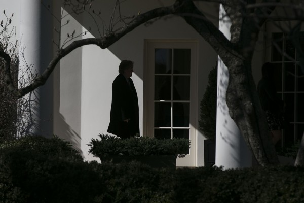 Chief Strategist Stephen K. Bannon, heads to the Oval Office after accompanying President Donald Trump to the Conservative Political Action Conference, at the White House, in Washington, Feb. 24, 2017.