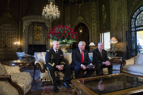 President Donald Trump prepares to announce Lt. Gen. H.R. McMaster, left, to be the next National Security Advisor, in the living room at the Mar-a-Lago resort, in Palm Beach, Fla., on Monday, Feb. 20, 2017. Joined with President Trump and McMaster is acting National Security Advisor Keith Kellogg.