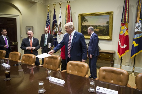President Donald Trump arrives for a healthcare discussion with House Committee chairs, in the Roosevelt Room of the White House on Friday, March 10, 2017 in Washington.