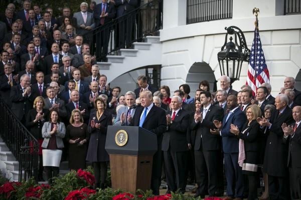 President Donald Trump speaks during a bill passage event on the South Lawn of the White House in Washington, Dec. 20, 2017, to acknowledge the final passage of tax overhaul legislation by congress.