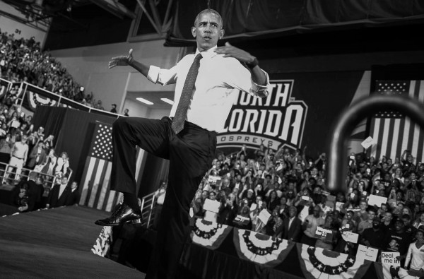 "President Barack Obama does the ""swoop"" as he speaks during a campaign event for Hillary Clinton, at the University of North Florida, in Jacksonville, Fla., Thursday, Nov. 3, 2016."