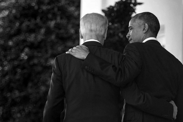 President Barack Obama puts his arm around Vice President Joe Biden as they depart after speaking about the results of 2016 presidential race in the Rose Garden of the White House, Wednesday, Nov. 9, 2016 in Washington.