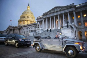 Sen. Richard Burr (R-N.C.) departs the U.S. Capitol in his 1974 Volkswagen Thing after an early morning vote to advance the nomination of Betsy DeVos, President Donald Trump's pick for Education Secretary, on Capitol Hill, in Washington, Feb. 3, 2017. By voting at 6:30 a.m., Republicans have a chance of confirming DeVos by late Monday, unless Democrats drag out the post-cloture debate for the full 30 hours, which could lag into Tuesday.