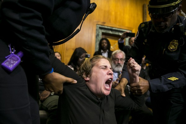 A protestors is removed and arrested as she interrupts a Senate Budget committee hearing, on Capitol Hill, Nov. 28, 2017 in Washington.