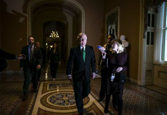 e Majority Leader Mitch McConnell (R-Ky.) heads to the Senate floor after meeting with Republicans in his office, on Capitol Hill, Feb. 7, 2018 in Washington.