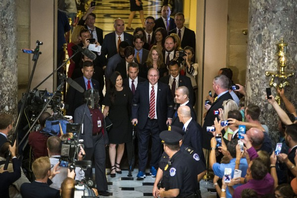 Rep. Steve Scalise (R-La.) returns from the House floor on his first day back on Capitol Hill after being shot, Sept. 28, 2017 in Washington.
