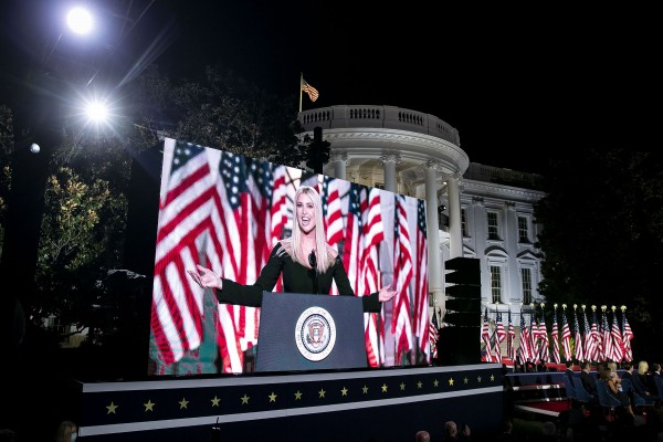 Ivanka Trump, assistant to President Donald Trump, is displayed on a screen while speaking during the Republican National Convention on the South Lawn of the White House in Washington, D.C., U.S., on Thursday, Aug. 27, 2020. President Donald Trump will ask Americans to return him to office in a speech closing the convention, arguing that voters can't trust Joe Biden or the Democratic Party to navigate the coronavirus pandemic or salve the nation's racial divisions.