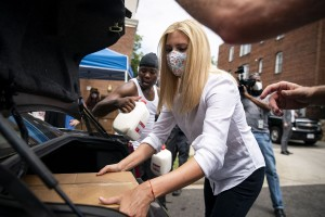 Ivanka Trump, first daughter and adviser to President Donald Trump, distributes food boxes as part of the Farmers to Families food box program, at the D.C. Dream Center, on July 20, 2020 in Washington, DC. The Farmers to Families Food Box program, which was developed by the Department of Agriculture in April, aims to provide food banks and community organizations with surplus produce, dairy, and meat to people in need throughout the nation.