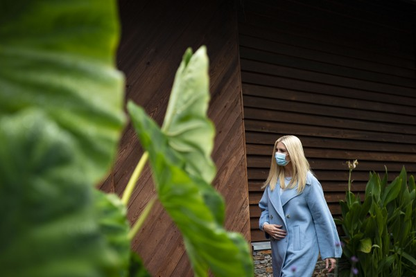 White House senior adviser Ivanka Trump campaigns for President Donald Trump with former White House Press Secretary Sarah Huckabee Sanders at Alexander Homestead in Charlotte, NC, on Wed., Oct. 28, 2020.