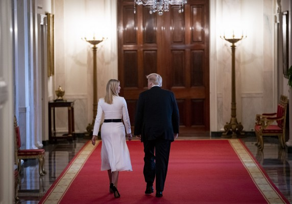 President Donald Trump and Ivanka Trump, assistant to President Donald Trump, depart through the Cross Hall after signing an executive order during an American Workforce Policy Advisory Board meeting in the East Room of the White House in Washington, D.C., U.S., on Friday, June 26, 2020. The board, co-chaired by Ivanka Trump and Commerce Secretary Wilbur Ross, is hosting their sixth meeting and are joined by members of the National Council for the American Worker.