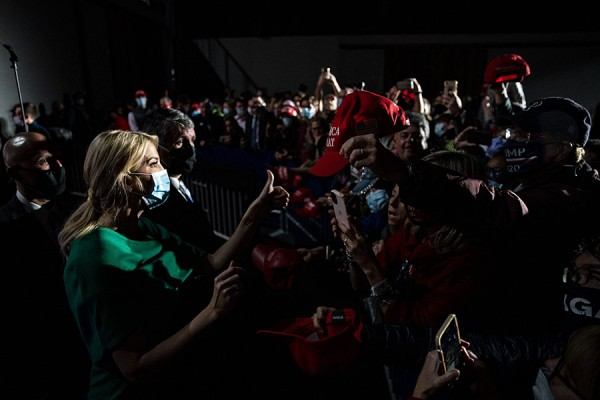 White House senior adviser Ivanka Trump gives a thumbs up as she signs autographs during a rally as she campaigns for U.S. President Donald Trump, at the Wyndham Lancaster Resort & Convention Center, on November 1, 2020 in Lancaster, Pennsylvania. Photo by Al Drago/UPI
