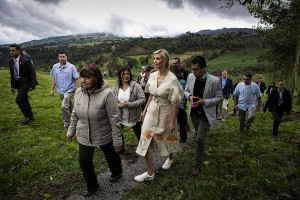 Ivanka Trump, assistant to U.S. President Donald Trump, walks with strawberry farm owners Alicia Espinosa, left, and her daughter Alicia Pulido, during a visit to an organic women-owned strawberry farm in Usme, Colombia, on Wednesday, Sept. 4, 2019.
