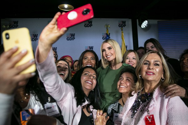 Ivanka Trump, assistant to U.S. President Donald Trump, poses for a selfie photograph during a ceremony recognizing State Department scholarship recipients as part of the Academy for Women Entrepreneurs, on Tuesday Sept. 3, 2019 at the U.S. Embassy in Bogata, Columbia.