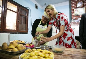 Ivanka Trump, assistant to President Donald Trump, puts sugar on a pastry with the help of bakery owner Graciela Alcocer, during a visit in Jujuy, Argentina on Thursday, Sept. 5, 2019. Photographer: Al Drago/Bloomberg