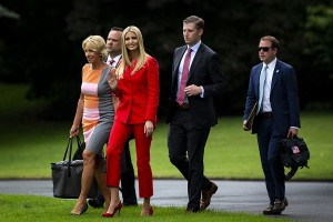 From left: Betsy DeVos, U.S. secretary of education, Dan Scavino Jr., White House director of social media, Ivanka Trump, assistant to U.S. President Donald Trump, Eric Trump, son of U.S. President Donald Trump and executive vice president of Trump Organization Inc., and Jordan Karem, acting director of advance, walk to board Marine One on the South Lawn of the White House in Washington, D.C., U.S., on Tuesday, July 31, 2018. Photographer: Al Drago/Bloomberg