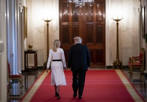 U.S. President Donald Trump and Ivanka Trump, assistant to U.S. President Donald Trump, depart through the Cross Hall after signing an executive order during an American Workforce Policy Advisory Board meeting in the East Room of the White House in Washington, D.C., U.S., on Friday, June 26, 2020. The board, co-chaired by Ivanka Trump and Commerce Secretary Wilbur Ross, is hosting their sixth meeting and are joined by members of the National Council for the American Worker. Photographer: Al Drago/Bloomberg