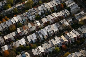 Row houses in Capitol Hill stands in this aerial photograph taken above Washington, D.C., U.S., on Tuesday, Nov. 4, 2019.