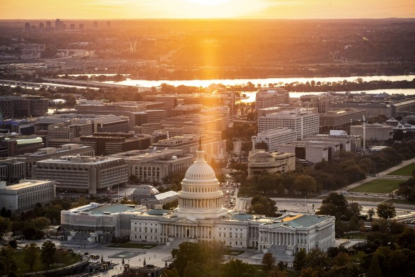 The Capitol stands in this aerial photograph taken above Washington, D.C., U.S., on Tuesday, Nov. 4, 2019.