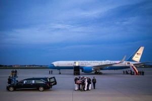 The flag-draped casket of Senator John McCain, a Republican from Arizona, is carried by an Armed Forces body bearer team to a hearse, Thursday, Aug. 30, 2018, at Andrews Air Force Base, Md.
