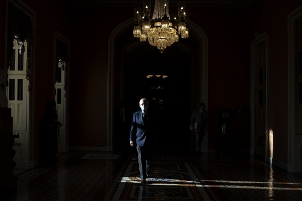 Senate Majority Leader Mitch McConnell, a Republican from Kentucky, returns to his office following a vote in the U.S. Capitol in Washington, D.C., U.S., on Monday, May 4, 2020.