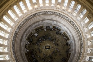 The casket of Rev. Billy Graham lies in honor, seen from the top of the Rotunda of the Capitol, Feb. 28, 2018 in Washington.